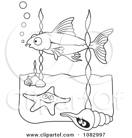 Clipart Black And White Fish Starfish And Shell - Royalty Free Vector Illustration by Any Vector