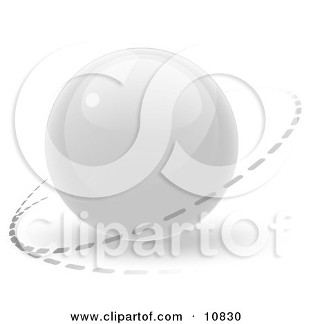 Clipart Illustration of a White 3D Orb Sphere With a Ring Around it, Internet Button by Leo Blanchette