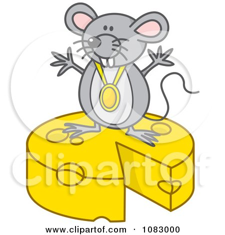 Clipart Gray Mouse With A Medal On Top Of Cheese - Royalty Free Vector Illustration by Any Vector