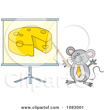 Clipart Gray Mouse Giving A Presentation On Cheese - Royalty Free Vector Illustration by Any Vector