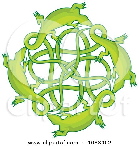 Clipart Green Lizards Around A Celtic Knot - Royalty Free Vector Illustration by Any Vector