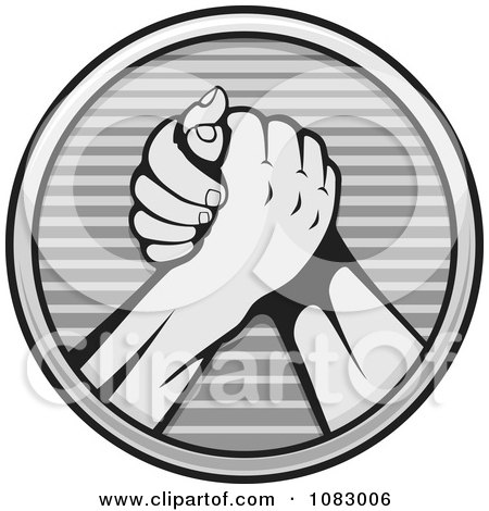 Clipart Grayscale Arm Wrestlers - Royalty Free Vector Illustration by Any Vector