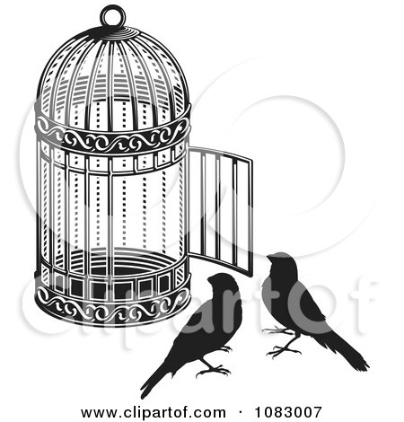 Clipart Black And White Birds By An Open Cage - Royalty Free Vector Illustration by Any Vector