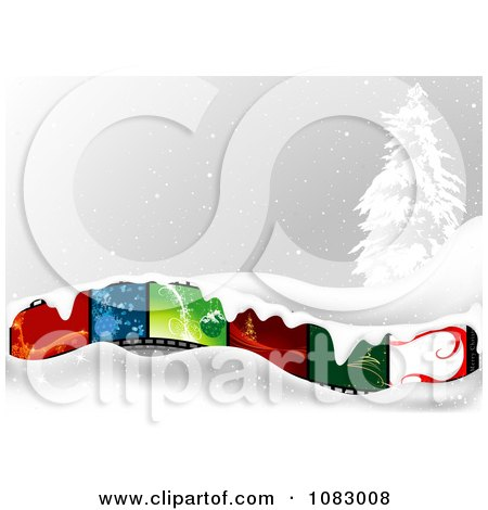 Clipart Christmas Film Strip With Snow And A Flocked Tree - Royalty Free Vector Illustration by dero