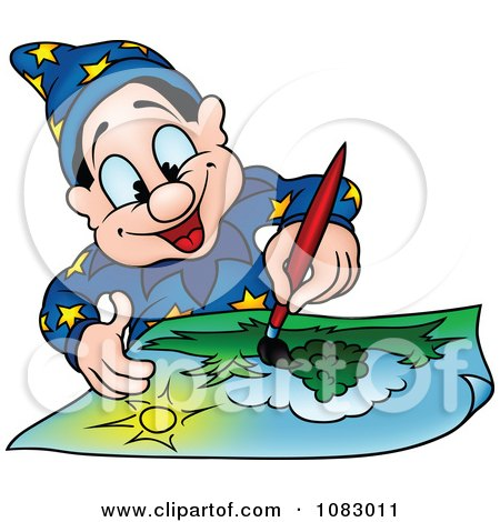 Clipart Wizard Painting A Landscape - Royalty Free Vector Illustration by dero