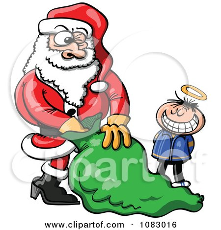 Clipart Little Innocent Boy Waiting For Santa To Give Him A Gift - Royalty Free Vector Illustration by Zooco