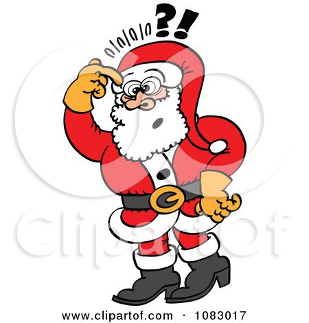 Clipart Santa Doubtfully Scratching His Head - Royalty Free Vector Illustration by Zooco