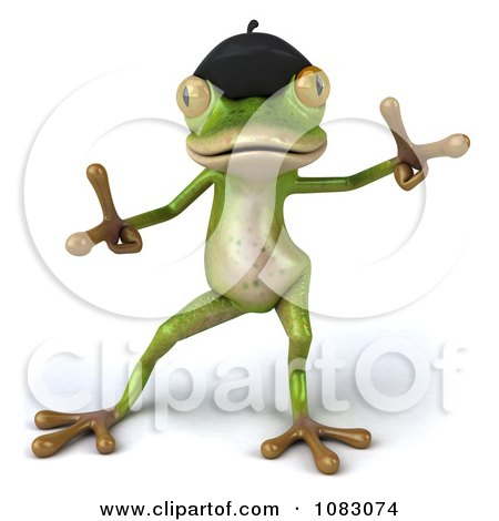 Clipart 3d French Springer Frog Dancing 2 - Royalty Free CGI Illustration by Julos