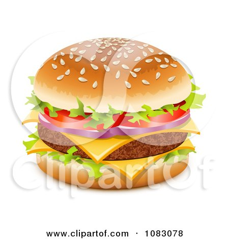 Clipart 3d Juicy Hamburger With Double Cheese - Royalty Free Vector Illustration by Oligo