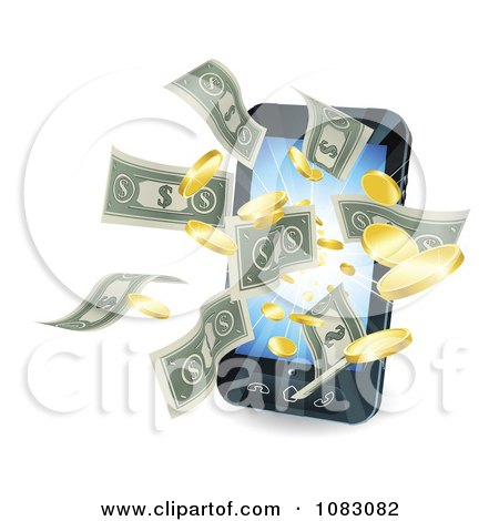Clipart 3d Cell Phone With Money Flying Outwards - Royalty Free Vector Illustration by AtStockIllustration