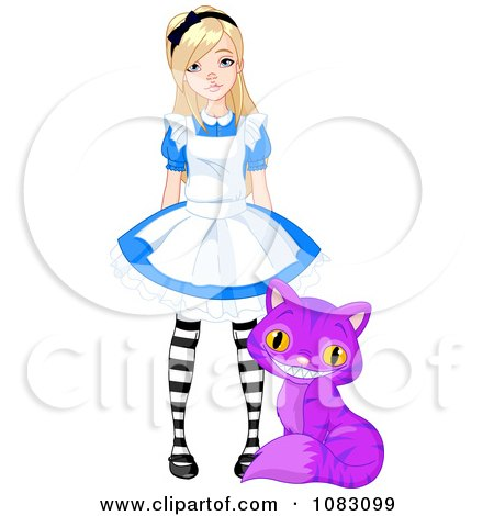 Clipart Pretty Girl Alice With A Purple Cheshire Cat - Royalty Free Vector Illustration by Pushkin