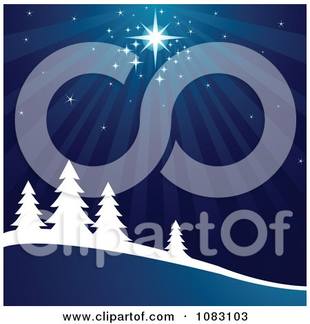 Clipart Bright Star Shining Down On A Winter Wonderland - Royalty Free Vector Illustration by Pushkin