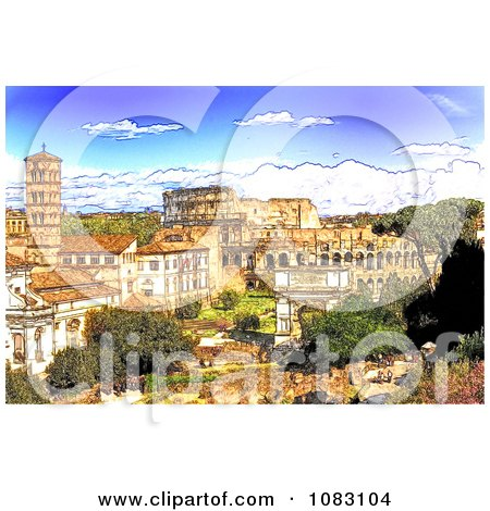 Clipart Sketch Of The Colosseum And Roman Forum During The Day - Royalty Free Illustration by MacX