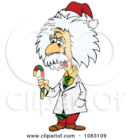 Clipart Einstein Holding A Christmas Candy Cane - Royalty Free Vector Illustration by Dennis Holmes Designs
