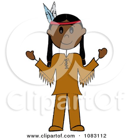 Clipart Thanksgiving Stick Native American Man - Royalty Free Vector Illustration by Pams Clipart