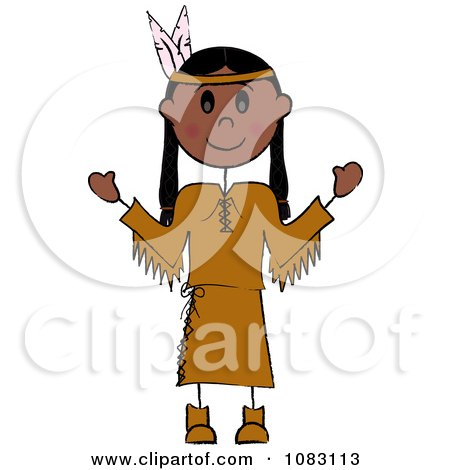 Clipart Thanksgiving Stick Native American Woman - Royalty Free Vector Illustration by Pams Clipart