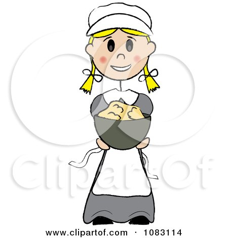 Clipart Thanksgiving Stick Pilgrim Girl Holding Mashed Potatoes - Royalty Free Vector Illustration by Pams Clipart