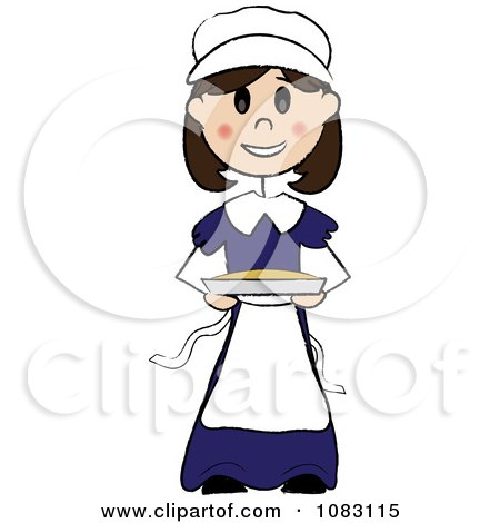 Clipart Thanksgiving Stick Pilgrim Girl Holding A Pie - Royalty Free Vector Illustration by Pams Clipart