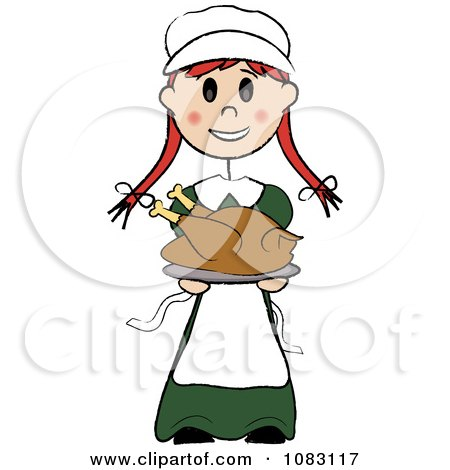 Clipart Thanksgiving Irish Stick Pilgrim Girl Holding A Turkey - Royalty Free Vector Illustration by Pams Clipart