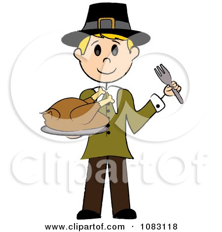 Clipart Thanksgiving Blond Stick Pilgrim Man Holding A Turkey - Royalty Free Vector Illustration by Pams Clipart
