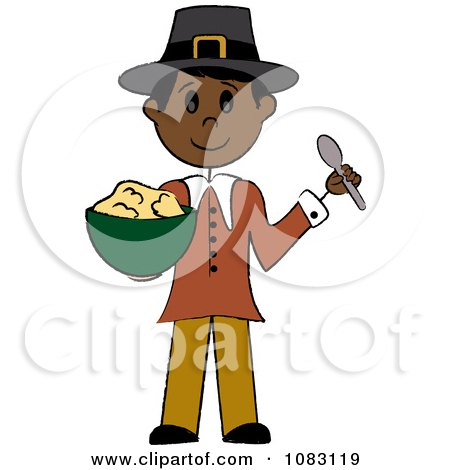 Clipart Thanksgiving Native Stick Pilgrim Man Holding Mashed Potatoes - Royalty Free Vector Illustration by Pams Clipart