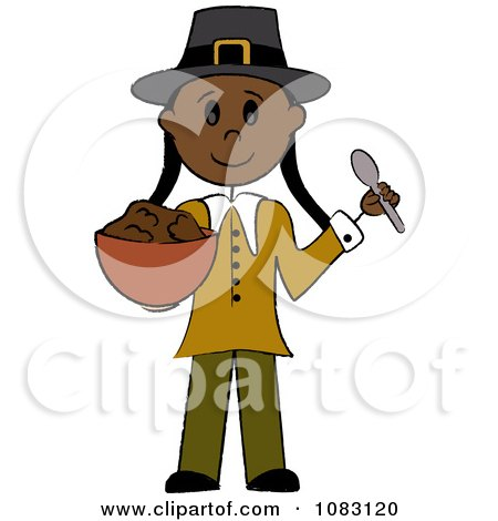 Clipart Thanksgiving Native Stick Pilgrim Woman Holding Stuffing - Royalty Free Vector Illustration by Pams Clipart