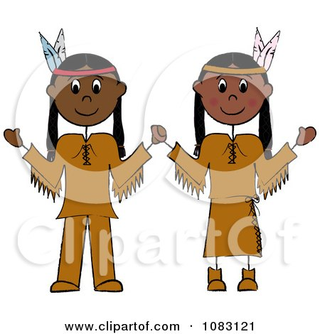 Clipart Thanksgiving Stick Native American Couple - Royalty Free Vector Illustration by Pams Clipart