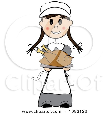 Clipart Thanksgiving Stick Pilgrim Girl Holding A Turkey - Royalty Free Vector Illustration by Pams Clipart