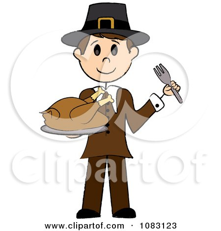Clipart Thanksgiving Stick Pilgrim Man Holding A Turkey - Royalty Free Vector Illustration by Pams Clipart