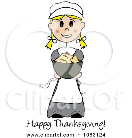 Clipart Happy Thanksgiving Stick Pilgrim Girl Holding Mashed Potatoes - Royalty Free Vector Illustration by Pams Clipart