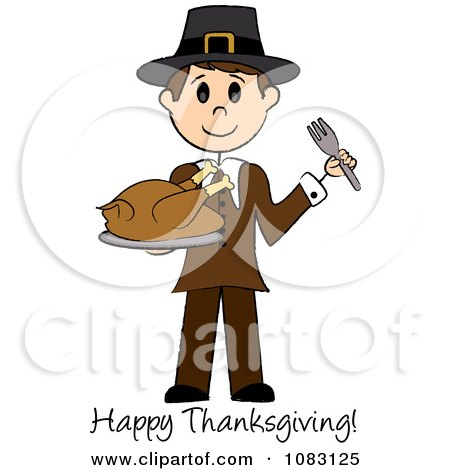Clipart Happy Thanksgiving Stick Pilgrim Man Holding A Turkey - Royalty Free Vector Illustration by Pams Clipart