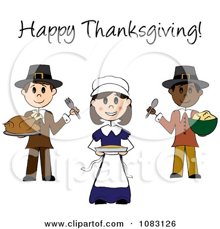 Clipart Happy Thanksgiving Stick Pilgrims With Food - Royalty Free Vector Illustration by Pams Clipart
