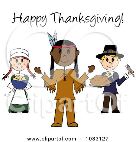 Clipart Happy Thanksgiving Stick Pilgrims And Native American - Royalty Free Vector Illustration by Pams Clipart