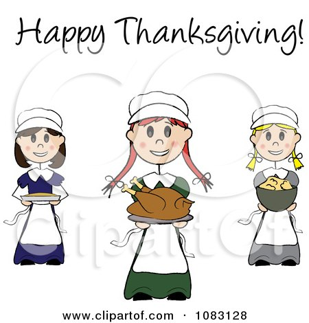 Clipart Happy Thanksgiving Stick Pilgrim Girls With Food - Royalty Free Vector Illustration by Pams Clipart