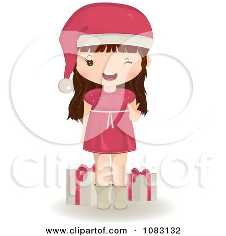 Clipart Brunette Christmas Girl With Presents - Royalty Free Vector Illustration by Melisende Vector
