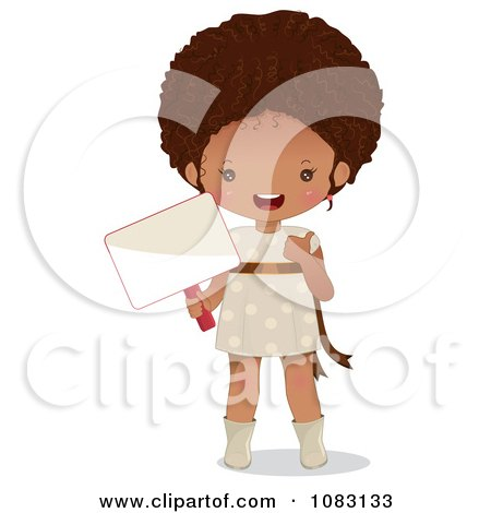 Clipart Cute Black Girl Holding A Sign - Royalty Free Vector Illustration by Melisende Vector