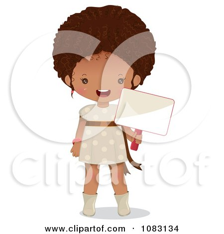 Clipart Cute Black Girl Holding A Blank Sign - Royalty Free Vector Illustration by Melisende Vector
