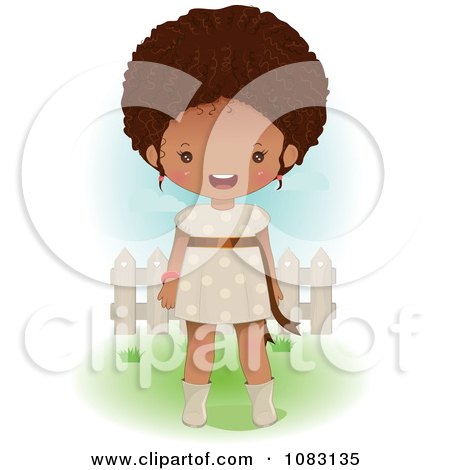 Clipart Cute Black Girl Standing In A Yard - Royalty Free Vector Illustration by Melisende Vector