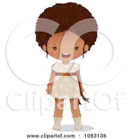 Clipart Cute Black Girl Smiling - Royalty Free Vector Illustration by Melisende Vector