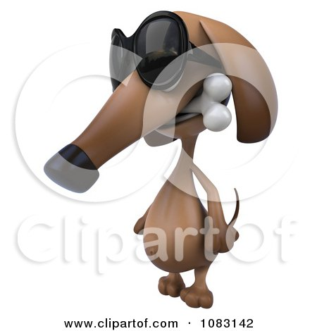 Clipart 3d Wiener Dog Wearing Sunglasses And Biting A Bone 1 - Royalty Free CGI Illustration by Julos