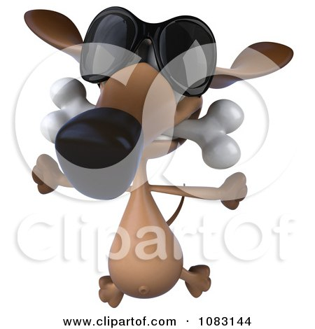 Clipart 3d Wiener Dog Wearing Sunglasses And Biting A Bone 3 - Royalty Free CGI Illustration by Julos