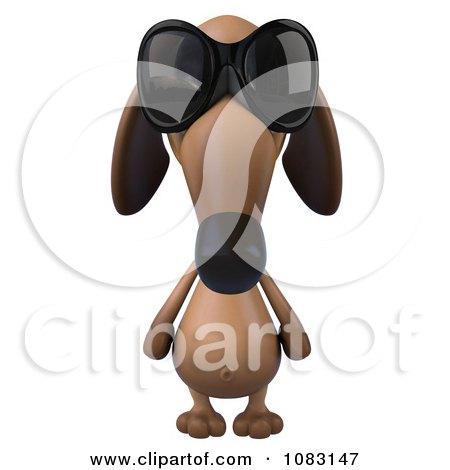 Clipart 3d Dachshund Dog Wearing Sunglasses - Royalty Free CGI Illustration by Julos