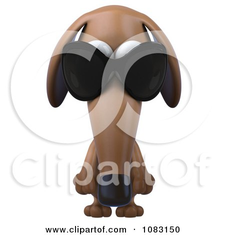 Clipart 3d Pouting Dachshund Dog Wearing Sunglasses 1 - Royalty Free CGI Illustration by Julos