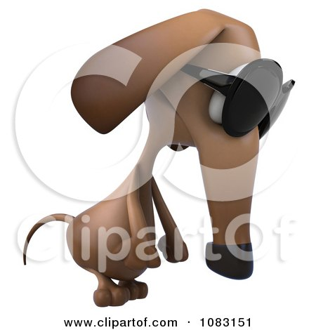 Clipart 3d Pouting Dachshund Dog Wearing Sunglasses 2 - Royalty Free CGI Illustration by Julos
