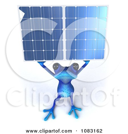 3d Blue Springer Frog Holding A Solar Energy Panel 3 Posters, Art Prints