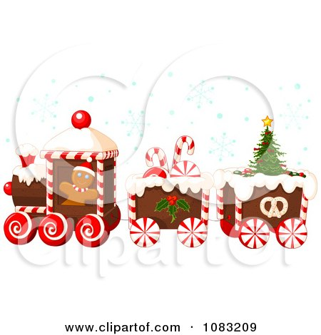 Clipart Christmas Gingerbread Train With Snow Royalty Free Vector Illustration