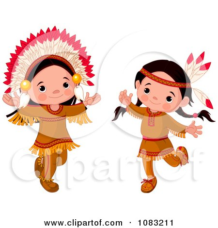 Clipart Dancing Thanksgiving Native American Girl And Boy - Royalty Free Vector Illustration by Pushkin