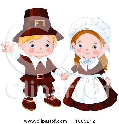 Clipart Cute Thanksgiving Pilgrims - Royalty Free Vector Illustration by Pushkin