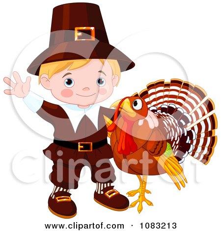 Clipart Cute Thanksgiving Turkey And Pilgrim Boy - Royalty Free Vector Illustration by Pushkin