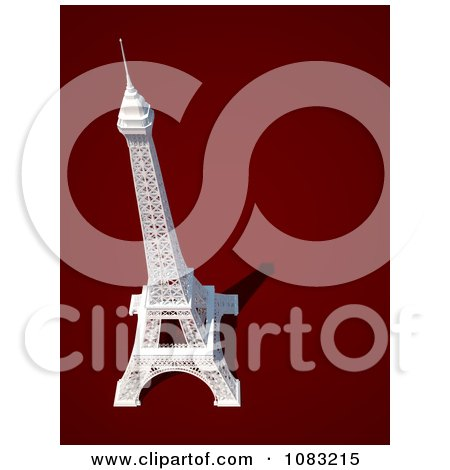Clipart 3d White Eiffel Tower On Red - Royalty Free CGI Illustration by chrisroll